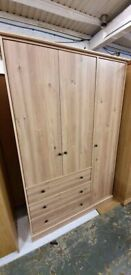 Fully Assembled Kensington 3 Door 3 Drawer Wardrobe - Oak Effect