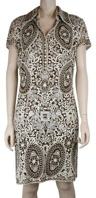 NAEEM KHAN IVORY AND BROWN EMBROIDERED SILK DRESS, SHORT SLEEVE, SIZE 6 for sale  Shipping to Canada