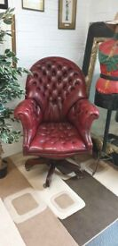 Lovely oxblood leather Chesterfield directors/captains chair