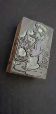 Vintage Letterpress Printers Block Chef Metal Wood Stamp 2 316x1 38x78