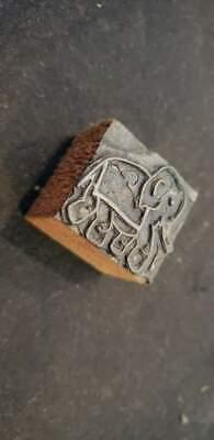 Vintage Letterpress Printers Block Elephant Metal Wood Stamp 1 316x1 116x78