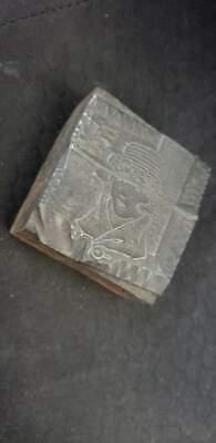 Vintage Letterpress Printers Block Lady Metal Wood Stamp 1 34x1 34x78