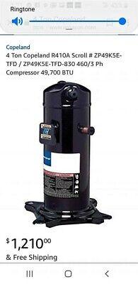 Copeland 4 Ton R410a Compressor. 3 Phase.model Zp51k65-tfd-830