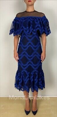 NEW CHRISTOS COSTARELLOS Black Blue Floral Polka Dot Lace Fringe Dress Gown 42