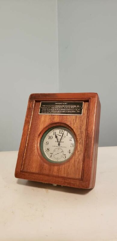 1940s Hamilton Model 22 Maritime Chronometer Watch and Display Box