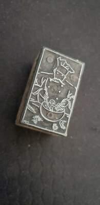 Vintage Letterpress Printers Block Chef Metal Wood Stamp 1 12x78x78
