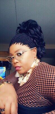 Fully hand braided Senegalese twist cornrow wig nkelele Dark purple mx 1B