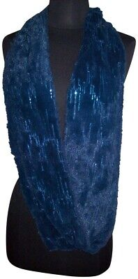 Sparkling Blue Faux Fur Infinity Scarf