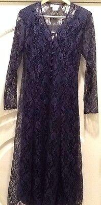 NAVY 2-PIECE TANK SHIFT & LACE DUSTER DRESS ~ Corset Laced Back Detail ~ Women S (2 Piece Floral Corset)