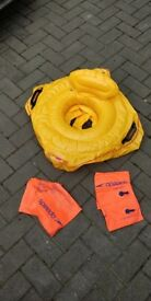 baby seat swim float with parent handles & 2 pairs of arm bands collect stonehaven