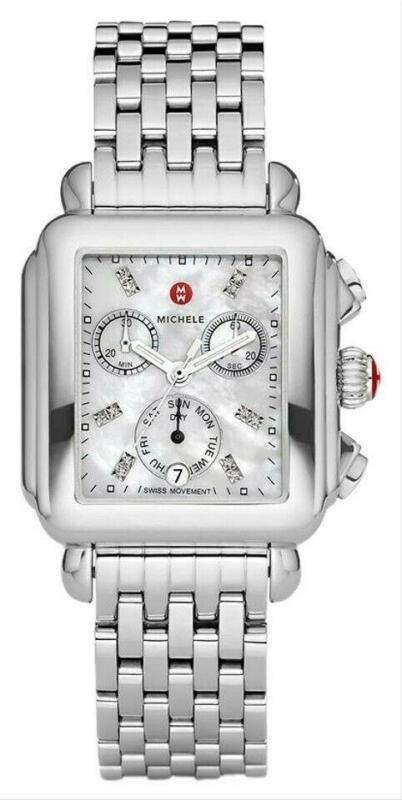 New Michele Deco Silver MOP Chronograph Diamond Dial Ladies Watch (MWW06P000014)