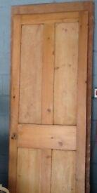 Antique Victorian 4 Panel Waxed Pine Door