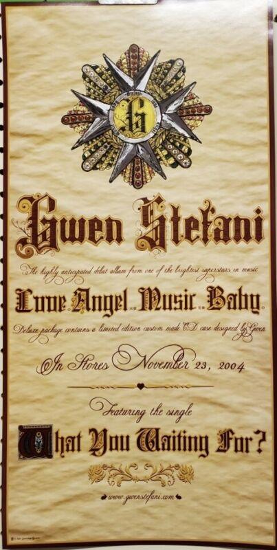 GWEN STEFANI 2004 L,A,M,B, advance promo poster Flawless NEW old stock NO DOUBT
