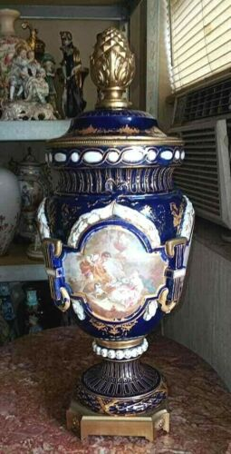 "Antique Sevres Style English Porcelain and Bronze Urn. 23""."