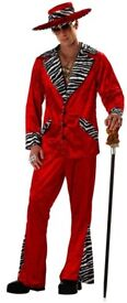 70s / 80s RED VELVET PIMP OUTFIT COMES WITH CANE NOT THE 1 IN PIC AND MEDALION SIZE M