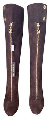 Bellofato Chocolate Brown KID Suede Leather  Italy Knee High Tall Boots NIB  8 M