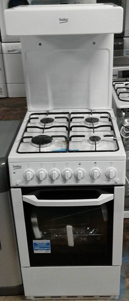 AA525 white beko 50cm high level gas cooker comes with warranty can be delivered or collected