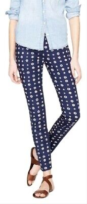 J Crew Foulard print navy capri cropped slim fit stretch twill Minnie pants 0