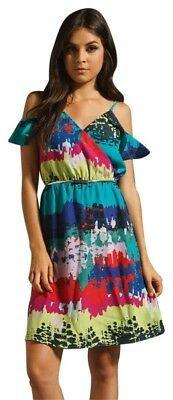 MISS ME JEANS Spaghetti Strap Multi-Color Overlay Cut Out Shoulder Lined Dress L Cut Out Strap Shoulder Dress