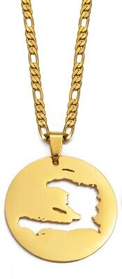 New Map of Haiti Gold Round Stainless Steel Pendant Necklace, Unisex