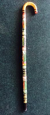 Hand Carved Painted Auhentic Mexican Walking Cane Stick Staff Aztec
