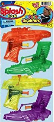 4 PACK WATER PISTOLS TOY SQUIRT GUNS WATER SQUIRTERS PLASTIC PLAY