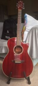 Great condition red electro-acoustic Crafter guitar with stand and bag - £120 or nearest offer
