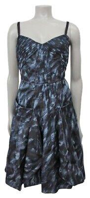 NWOT BCBG Sz 2 XS  BLUE GREY SILK PRINT PLEATED MINI DRESS BRUSHSTROKE