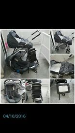 silver cross pram and silver cross car seat with isofix and Lindam back car seat mirror.