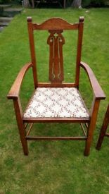 Antique Arts and Crafts Oak Elbow / Desk/ Carver Chair