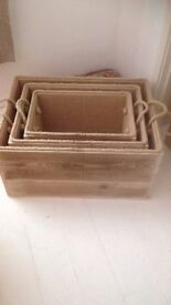 Hand made Set of 3 Boxes-Solid Wood