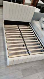 double king size plush velvet lucy bed frame with choice of mattresses