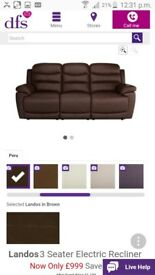 DFS Landos Electric Recliner Brown 3seater + 2seater sofa 2 months old
