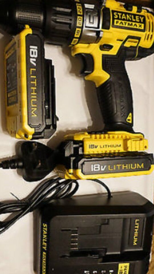 stanley fatmax 18v cordless drill x2 batteries charger brand new RRP-£129 buy now £65