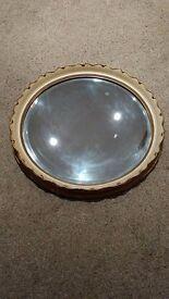 Antique Fluted Edge Crackle Glazed Mirror .
