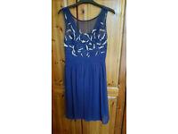 Quiz Chiffon Navy Blue Dress - Size 14