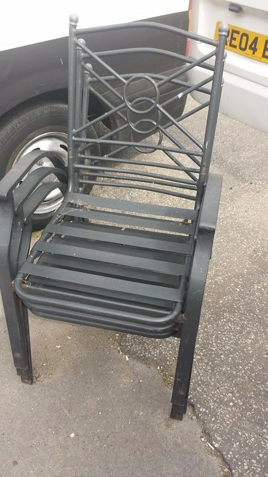 set of 3 garden iron chairs good condition only £10.00
