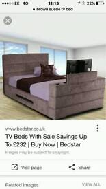 Double TV bed, brown suede