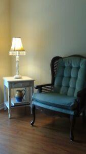Antique chair with refinished white side table