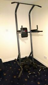Almost new (4 months) Power Tower Dip Station + Dumbels (1kg-7kg) + Push Up Bars