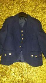 Boys/kids BLUE argyle jacket and 5 button waistcoat. Ideal for wedding