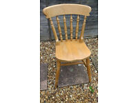 1 X PINE CHAIR – W52 X D38 X H86CM – 46CM FLOOR TO SEAT – GOOD PAINTING PROJECT - £5
