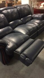 Two dark blue large sofas £100.00 each