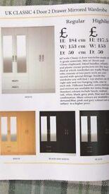 4 Door 2 Drawer Mirrored Wardrobe