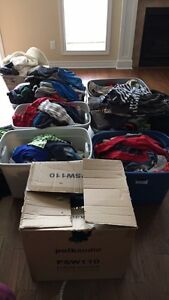 Totes of boys clothes in variety of sizes !