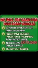 Scrap cars vans 4x4 tractors scrap metal wanted also cash paid