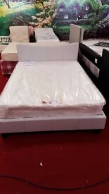 brand new curve natural fabric double bed and new mattress