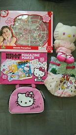 Hello Kitty bundle -magazine maker ,beads,mug,plush,backpack and lunch bag,