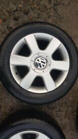 vw 16'' alloys with almost new winter tyres