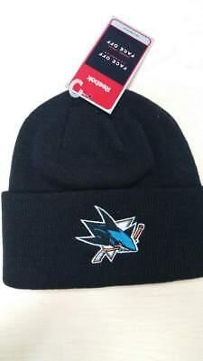Reebok NHL San Jose Sharks Team Logo Classic Black Cuffed Knit Beanie Hat Cap Black Classic Knit Beanie